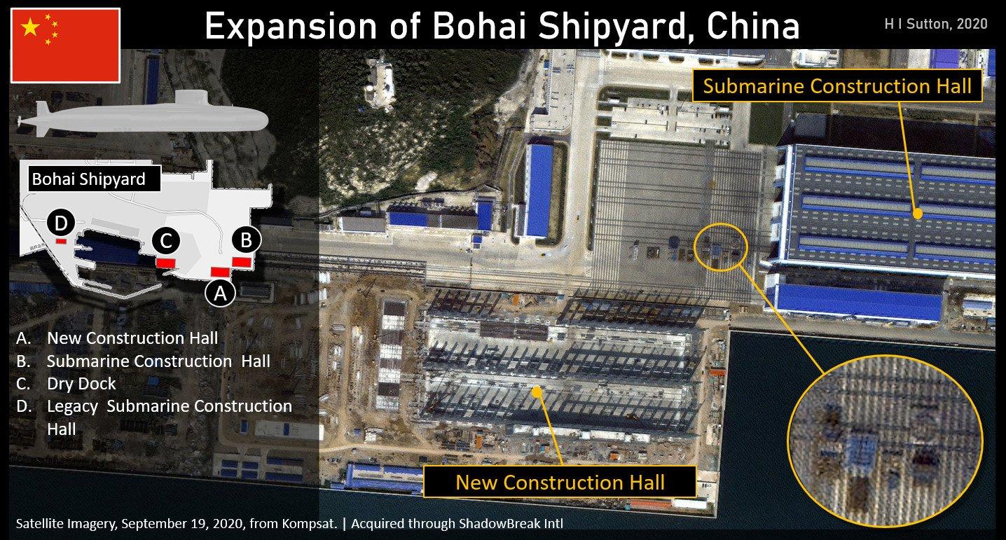 美媒:卫星照片显示中国正在扩建核潜艇厂房